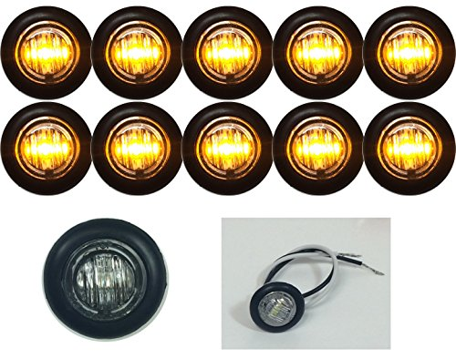 10 NEW 3/4″ CLEAR/AMBER LED CLEARANCE MARKER BULLET MARKER LIGHTS GOOD FOR TRAILER TRUCK ETC WITH BLACK TRIM RING