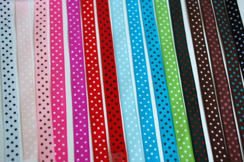 Cheapest Price! Polka Dot Grosgrain Ribbon-16 Colors of 3/8""