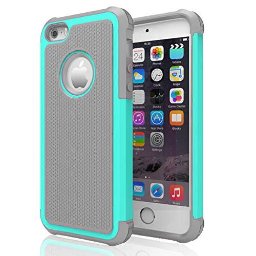 iPhone 5s Case ,[Corner Protection] Protective Case Detachable Defender Thin Protective Anti-dirt Scratch Resistant Hard Soft Heavy Duty Rubber Bumper Cover for iPhone 5 5s(Gray/Turquoise) (Iphone 5s Body Space Gray compare prices)
