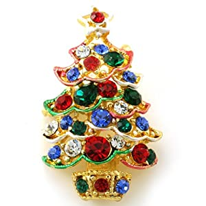 Multi Colors Christmas Tree Brooch Pin Color Stone Crystals Costume Gold Tone Christmas Jewelry