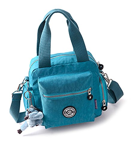 fanselatm-womens-travel-waterproof-nylon-tote-single-shoulder-crossbody-handbag-blue