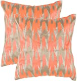 Safavieh Pillow Collection Throw Pillows, 20 by 20-Inch, Boho Chic Neon Tangerine, Set of 2