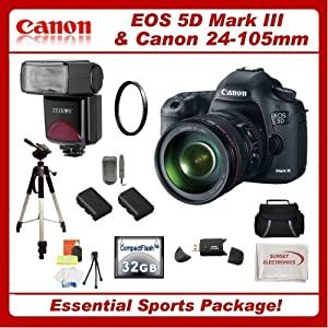canon eos 5d mark iii digital camera kit with canon 24. Black Bedroom Furniture Sets. Home Design Ideas