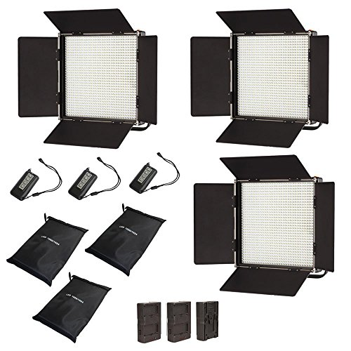 Iled 1024As Bi-Color Led Studio Panel 3-Light Kit With Lcd Touch Screen And V-Mount Plate + Wireless Remote Controller + Battery Converter Adapter + Softbox