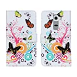 W-RainBow Newest Arrival Beautiful Flower And Butterfly Series Wallet Style Design Folio Leather Cover Book Stand Protective Case for LG G2(Vivid Butterfly)Randomly Presented A Piece Winder