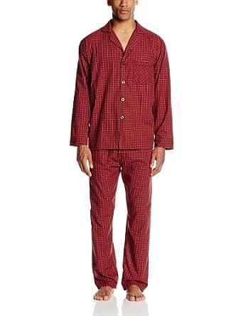 Hanes Men's Woven Plain Weave Pajama Set, Red Plaid, Large