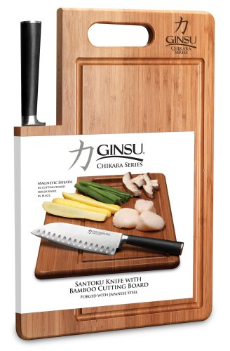 Ginsu 07102 7-Inch Santoku Knife, Stainless Steel, with Bamboo Cutting Board