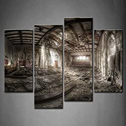 Modern Home Decoration painting 4 Panel Wall Art Abandoned Theater Destroyed Ceilung Messy Bright Rubbish The Picture Print On Canvas Architecture Pictures piece