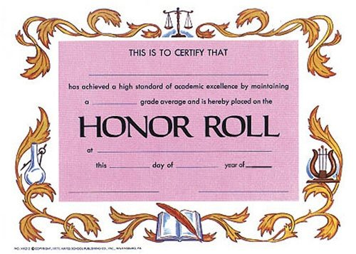 Buy HAYES SCHOOL PUBLISHING H-VA212 CERTIFICATES HONOR ROLL-25/PK 12 X 9