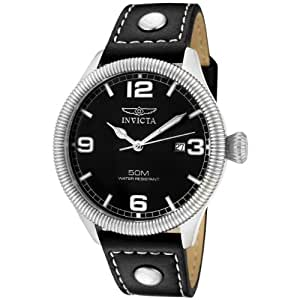 """Invicta Men's 1460 """"Vintage Collection"""" Stainless Steel and Black Leather Watch"""