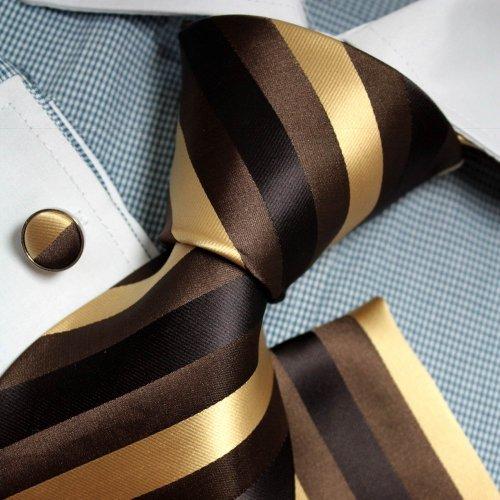 Brown Stripes Woven Silk Tie Hanky Cufflinks