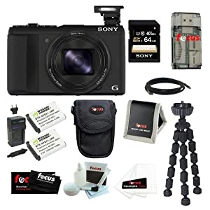 """Sony DSC-HX50V/B DSC-HX50, HX50, DSCHX50 Cyber-shot 20.4MP High Zoom Digital Camera Bundle with 64GB SD Memory Card + Memory Card Reader-Writer + Wasabi Power Replacement Battery for Sony NP-BX1 and Sony Cyber-shot DSC-RX1 + Soft Carrying Case + 7"""" Spider Tripod and Accessories"""