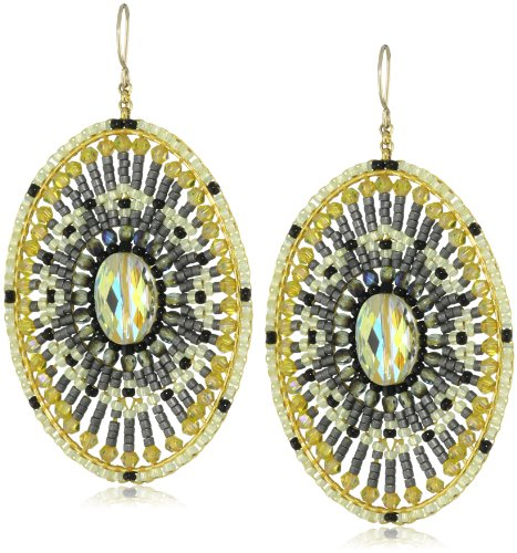 Miguel Ases Tourmaline Quartz Oval Drop Earrings