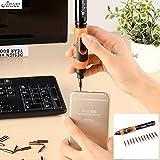 Full-automatic Electric Screwdriver Kit Mini Pocket Power Screwdriver Small Cordless Power Precision Screwdriver Set with 12-Tip LED Light (Black + Orange)