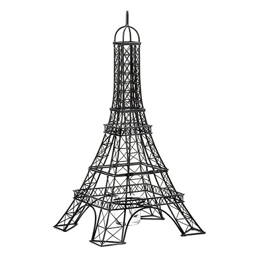 """New 15½"""" Black Metal Parisian Eiffel Tower Candle Holder W Glass Candle Cup Base front-231029"""