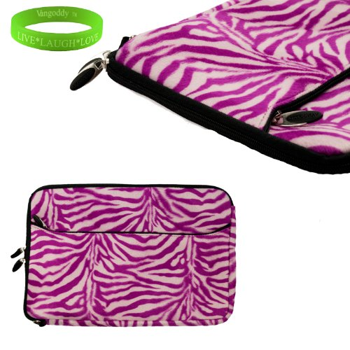 Travel Friendly Darling Pink Zebra13 Inch Faux Fur Laptop Sleeve To Fit Your Toshiba Portega Ultrabook. Exterior Is Lined With Soft Micro Suede And A Concealed Thick Nylon Flap To Keep Your Device In Place + Vangoddy Live Laugh Love Bracelet