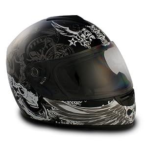 VCAN V136 Graphic Full Face Helmet (Dark Angel Black, Medium) from VCAN
