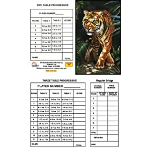 Bridge Tallies - Golden Tiger - (12 Pack) 2 & 3 Table Progessive