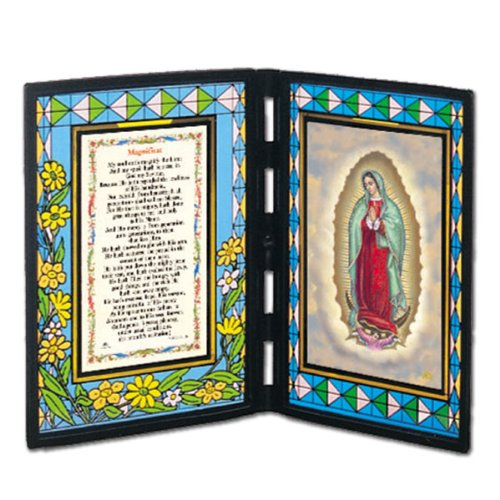 """Our Lady of Guadalupe Stained Glass Plaque with English Prayer - 5""""x7"""" Sides - Free Medal Incl."""