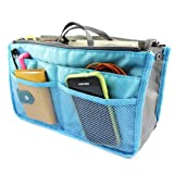 kilofly Purse Insert Organizer, Expandable, Blue, with Handles