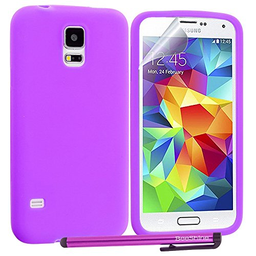 Beeshine Retail Package Flexible Rubber Skin Soft Silicone Case Cover With Lcd Film Guard Screen Protector & Touch Stylus Pen For Samsung Galaxy S5 / Sv / Sm-G900 (At&T, Verizon, Sprint, T-Mobile,U.S. Cellular) (Purple)