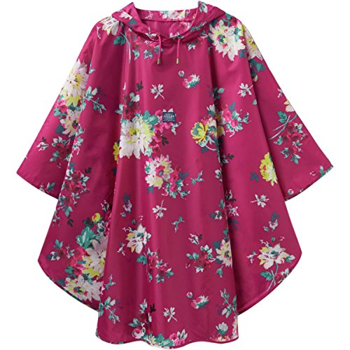 Joules Printed Showeproof Poncho - Women's Dark Pink Floral, One Size (Joules Rain Coat compare prices)