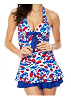 WellMiss Womens One Pieces Halter Flower Swimdress Swimsuit Swimwear