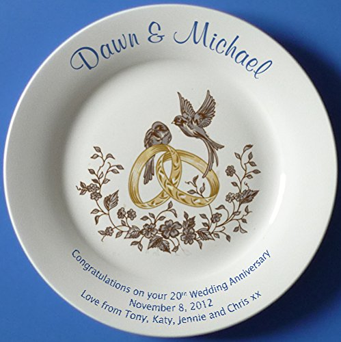 Personalized Bone China Commemorative Plate For A 55th Wedding Anniversary - Wedding Bells Design With A Plain Rim