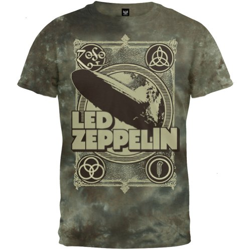 Led Zeppelin - Poster Tie Dye T-Shirt - 2X-Large - Olive