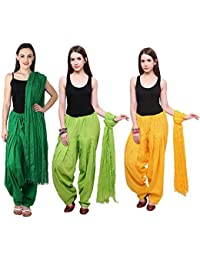 Fashion Store Combo Of Womens Solid Cotton Yellow ,Green & Parrot Green Best Ethnic Comfort Punjabi Patiala Salwar...