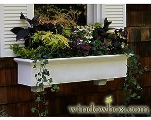 24 Inch XL Cambridge Premier No Rot PVC Composite Flower Window Box w/ 2 Decorative Brackets