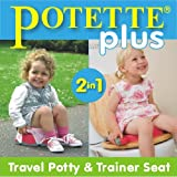 Potette Plus Travel Potty includes EXTRA 10-Pack of Liners and BONUS Sani-Hands Sanitizing Wipes (male/neutral color)