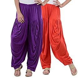NumBrave Purple,Red Viscose Dhoti Salwar Combo Of 2