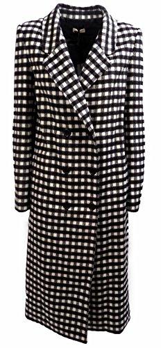 Cappotto Donna TWIN-SET SA62LP Misto lana fantasia Lungo doppiopetto quadr Autunno Inverno 2016 Bianco nero M