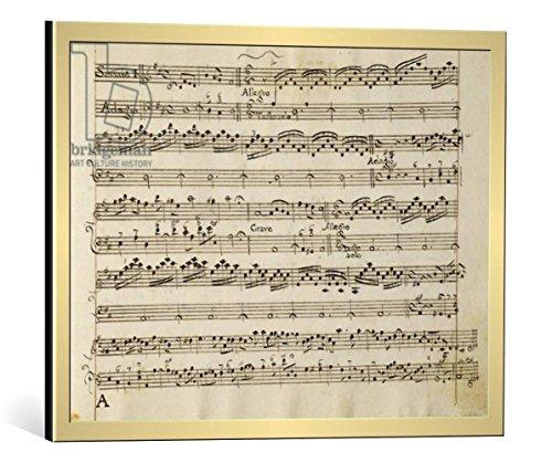 """Quadro con cornice: Arcangelo Corelli """"Manuscript page from the score of Opus V, 'Sonata for violin, violone, and harpsichord'"""" - stampa artistica decorativa, cornice di alta qualità, 55x40 cm, Oro spazzolato"""
