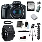 Canon PowerShot SX50 HS 12.1 MP Digital Camera with 50x Optical IS Zoom with 50 Tripod w/ Case and 32GB Deluxe Accessory Bundle