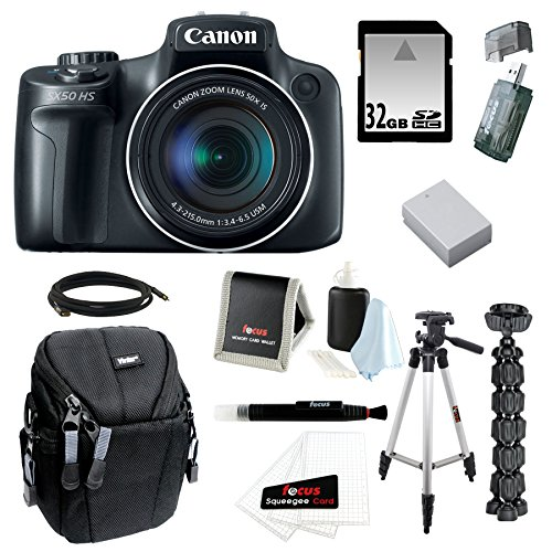 "Canon PowerShot SX50 HS 12.1 MP Digital Camera with 50x Optical IS Zoom with 50"" Tripod w/ Case and 32GB Deluxe Accessory Bundle"
