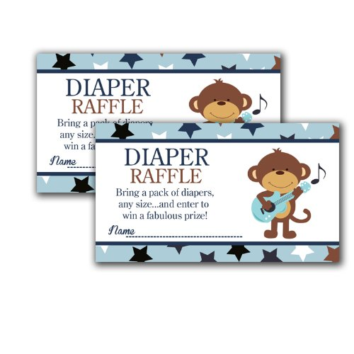 Rock Star Monkey Printed Baby Shower Diaper Raffle Tickets (20)