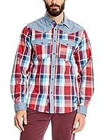 Desigual Camisa Hombre Ranacopy (Azul / Rojo)