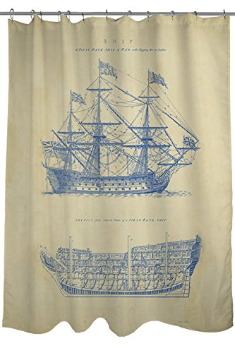 Thumbprintz Shower Curtain Vintage Ship Blueprint