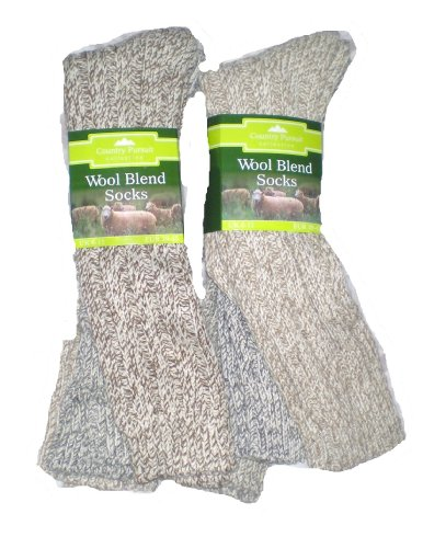 6 Pairs mens Wool Rich Boot Socks