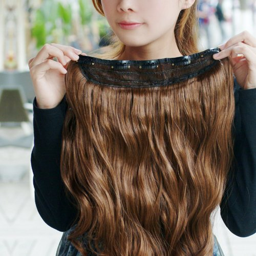Gorgeous Long Curly Clip-on Hair Extension Wigs - Light Brown