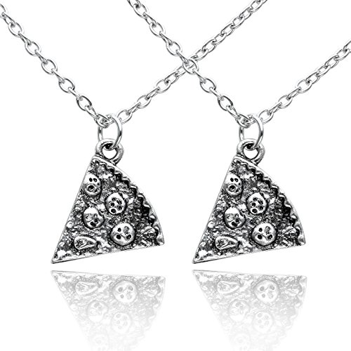 JOVIVI® Antique Silver Color Alloy Pizza Slice Friendship Necklace Set of 2