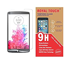 Royal Touch (TM)100% Bubble Free Full Size Cover Japanese AGC Tempered Glass Screen Protector Scratch Gard For LG G3 Stylus