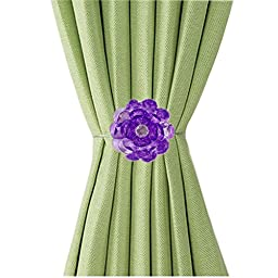 Ayygift 1 Pair Transparent Flower Magnetic Curtain Clip Tiebacks Holdback Bedroom (Purple)