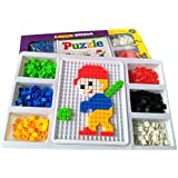 Fajiabao 480 Pcs Mushrooms Nails Building Jigsaw Puzzle Flashboard Toys Set With Basket For 3 Years Old And Up...