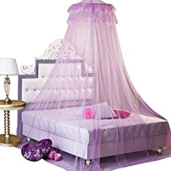 DDLBiz New Round Lace Princess Mosquito Net Dome Bed Canopy Netting (Purple)