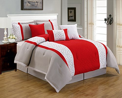 """""""7 Pieces Luxury Red, Grey and White Quilted Linen Comforter Set / Bed-in-a-bag Queen Size Bedding"""""""