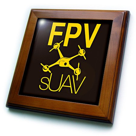 Ft_179953_1 Kike Calvo Drone And Unmanned Vehicle Collection - Black And Yellow Drone With Fpv - Framed Tiles - 8X8 Framed Tile