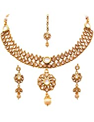 JFL - Dazzling Designer One Gram Gold Plated Kundan Cz Diamond Necklace Set / Jewellery Set With Earrings For...